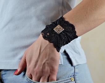 Black Buckle Wrist Cuff Tattoo Cover up Lace Bracelets Lace Wristband Lace Jewelry Stretch Bracelet Lace Cuff Stretchy bracelet  wU7068