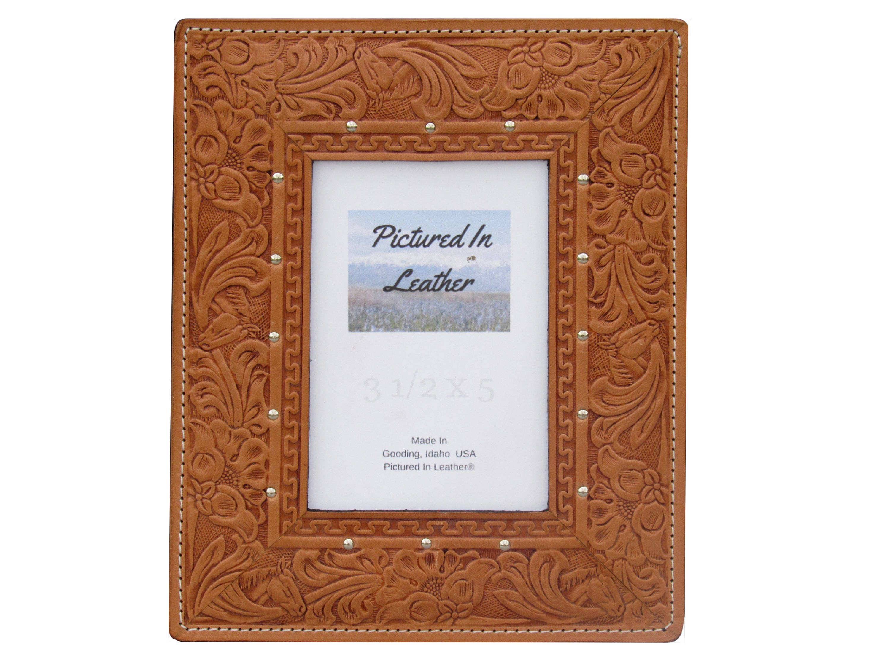 Leather picture frame, 3-1/2x5, light brown, embossed horse and ...