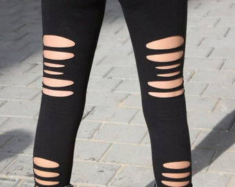 Black Long Torn Leggings. Cut leggings. Funky Leggings. Black Tights. Punk Pants