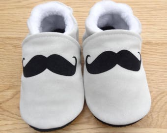 Genuine leather grey-white with black mustache booties
