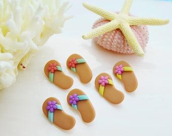 Tan Flip Flop  ~Terrarium Accessory ~ ~ Button ~ Craft Supply