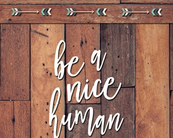 Be A Nice Human Decal | Yeti Decal | Yeti Sticker | Tumbler Decal | Car Decal | Vinyl Decal