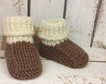 Hand knitted baby cuff boots