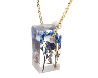 """Botanical Jewelry Forget Me Nots Eco Resin Jewelry 1"""" Bar Necklace with Real Pressed Flowers Sterling Gold Handmade Jewelry"""