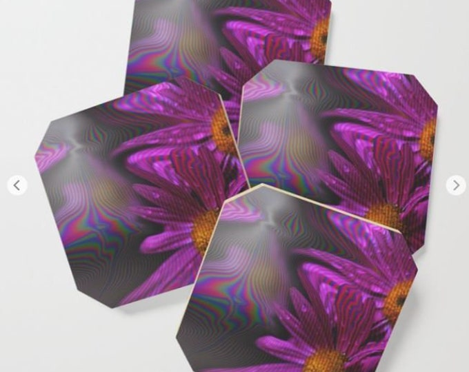 Coasters - Abstract Purple Flowers  - Drink Coasters - Party Coasters - Made to Order