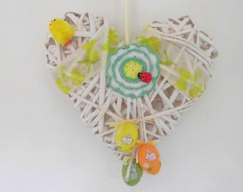 Wreath Easter decoration Easter wall decor, Easter eggs, basket, crochet, lady bug, lady bug flower heart, Chick