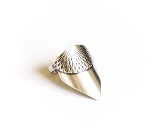 """ON SALE this week - Unique silver ring handmade of recycled sterling silver in an arrow shape w/ intricately embossed pattern - """"Freya Ring"""""""