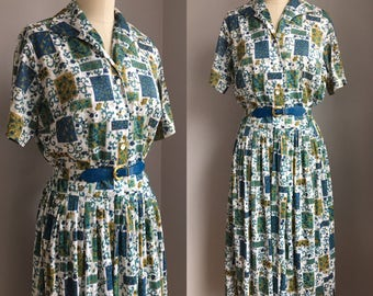 Vintage 1950s Silky Nylon Novelty Print Shirtwaist Dress Size Small Medium