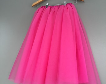 Hot pink tulle skirt, lined tulle skirt, pink tutu, bridesmaid skirt, bachelorette party tutu