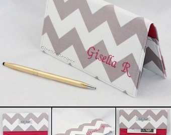 Personalized Checkbook cover, Monogram gray Chevron Checkbook case, Handmade Custom made Checkbook cover, custom Mother's day gift idea