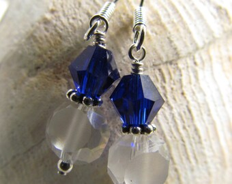 University Of Kentucky Blue and White Beaded Earrings, Handmade by Harleypaws, SRAJD