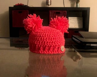 Double Pom Newborn Hat