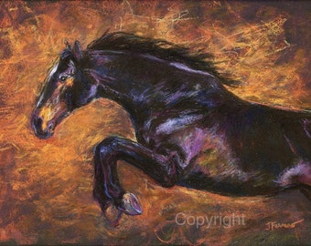 Jumping horse Art Print-'Shimmering Strength' on paper or canvas