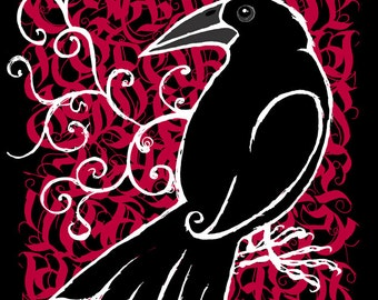 The Raven- Gothic Calligraphy. Signed Limited Edition. For bird lovers, bird enthusiasts gifts.