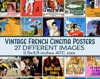 vintage French Cinema Film Posters ATC 2.5x3.5 digital download printable n118