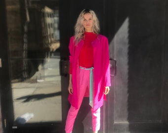 Vintage Hot Pink Silk Blazer Jacket, Kimono StyleOversized