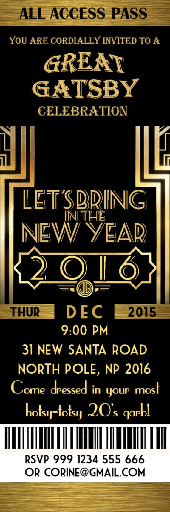 Great Gatsby Invitation New Year invitation New Year\'s