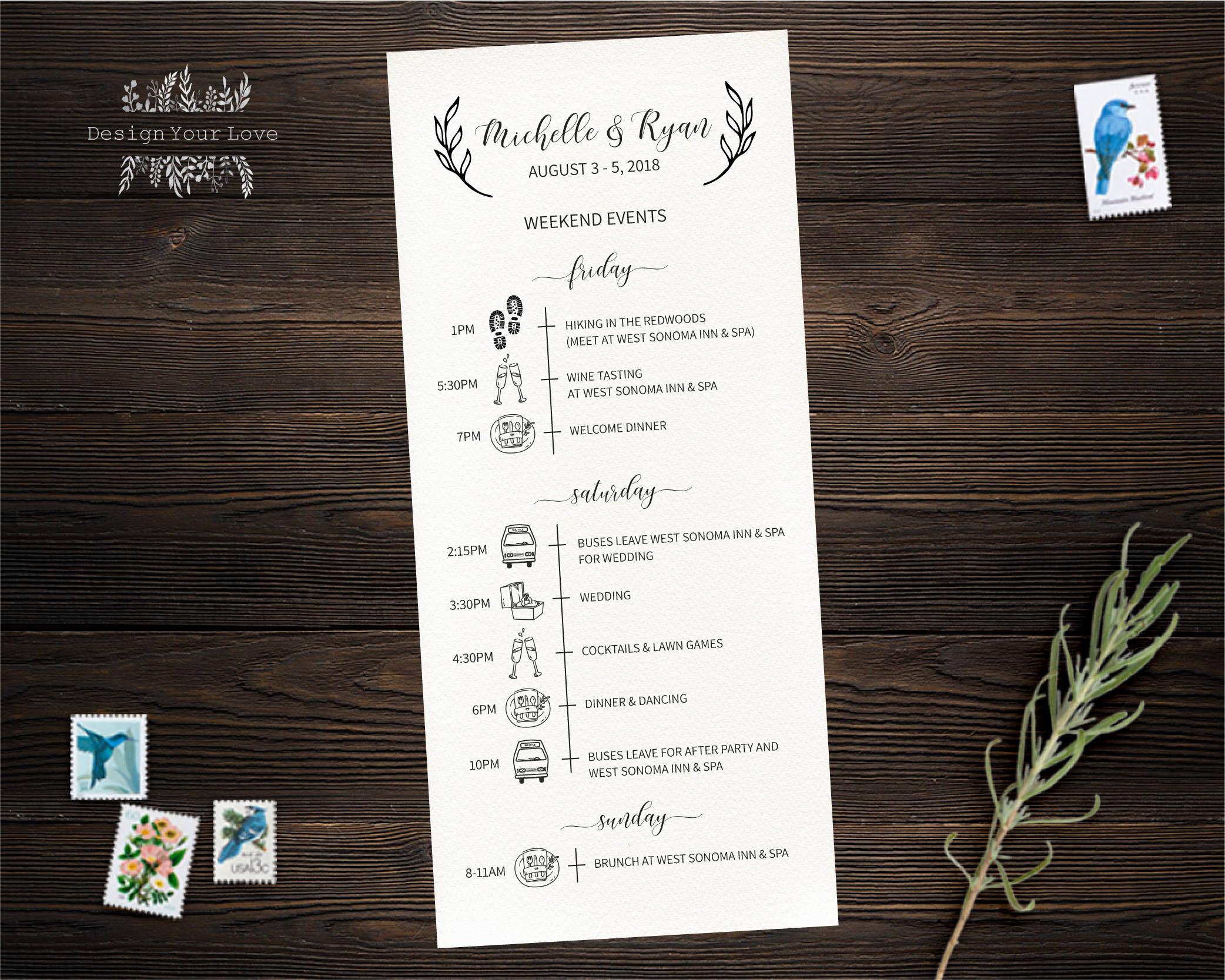 Hochzeit am Wochenende Timeline Karte druckbare Hochzeit