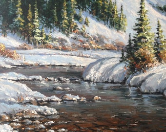 landscape,river,winter,snow,forest,sky,water,oil painting