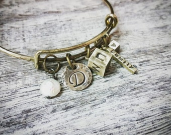 Family Cube Personalized Rustic Adjustable Brass Bangle Bracelet