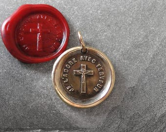 Crucifix Wax Seal Pendant - Cross antique wax seal jewelry charm Love of The Cross French motto I Love It Fervently by RQP Studio