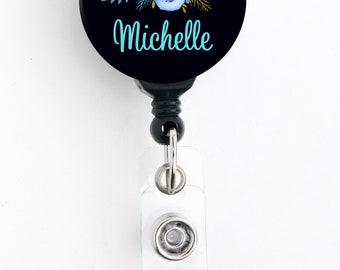 Retractable ID Badge Holder - Personalized Name - Blue Floral Black Bkgd - Badge Reel / Nurse Badge / Teacher Badge / Stocking Stuffer