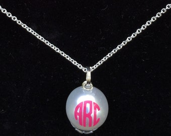 Monogrammed Pearl Necklace, 14mm