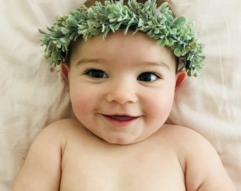 Foliage and dried baby breath Crown | Flower Headband | Greenery Crown | Foliage Headband | Boho Headband