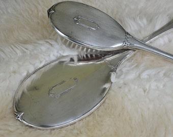 SALE! Vintage Saart Bros Sterling Silver Brush and Mirror Vanity Dresser Set, American Sterling Silver, Art Deco Design