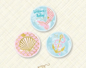 Mermaid Baby Shower Pink and Gold Printable Cupcake Topper Round party favor tag splash tail shell anchor foil glitter instant download pdf