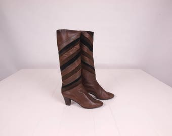 70s Boots || Vintage Boots || Stacked Heel Campus Boots || Size 7.5 Boots