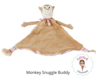 Personalised embroidered monkey snuggle comforter cubbie