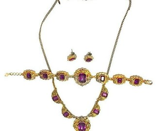 Vintage Gold and Purple Necklace, Bracelet and Earring set! Avon