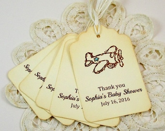 Baby Boy Airplane Thank You Tags,  Baby Shower Favor Tags,  Airplane Thank You Tags
