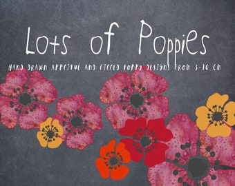 LOTS OF POPPIES - 9 hand drawn Poppies - Machine Embroidery designs and Appliqués in different variants and sizes - 8 singles + 3 in a row