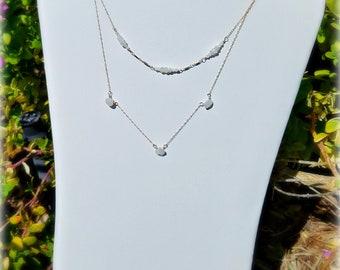 Moonstone or Labradorite multi-chain necklace