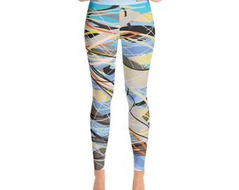 SGRIB Print Women's Fashion Yoga Leggings - xs-xl sizes - design number twenty-one - on bluesky
