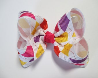Baby/Toddler/Girl/Adult 4 Inch Boutique Hair Bows on Lined Alligator Clip - Coloured Argyle on White