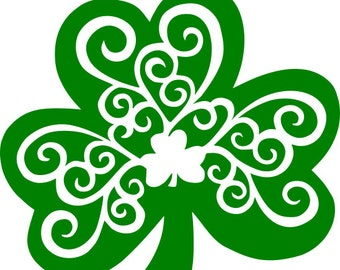 Shamrock Swirl St. Patrick's Day SVG Digital Download Cricut Silhouette Cameo