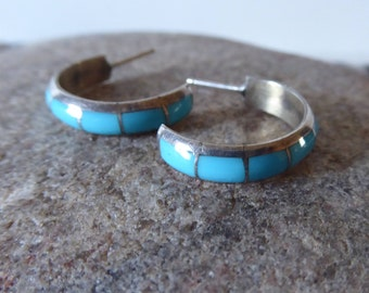 Turquoise Inlay Half Hoop Earrings, Southwest Jewelry, Sterling Turquoise Earrings