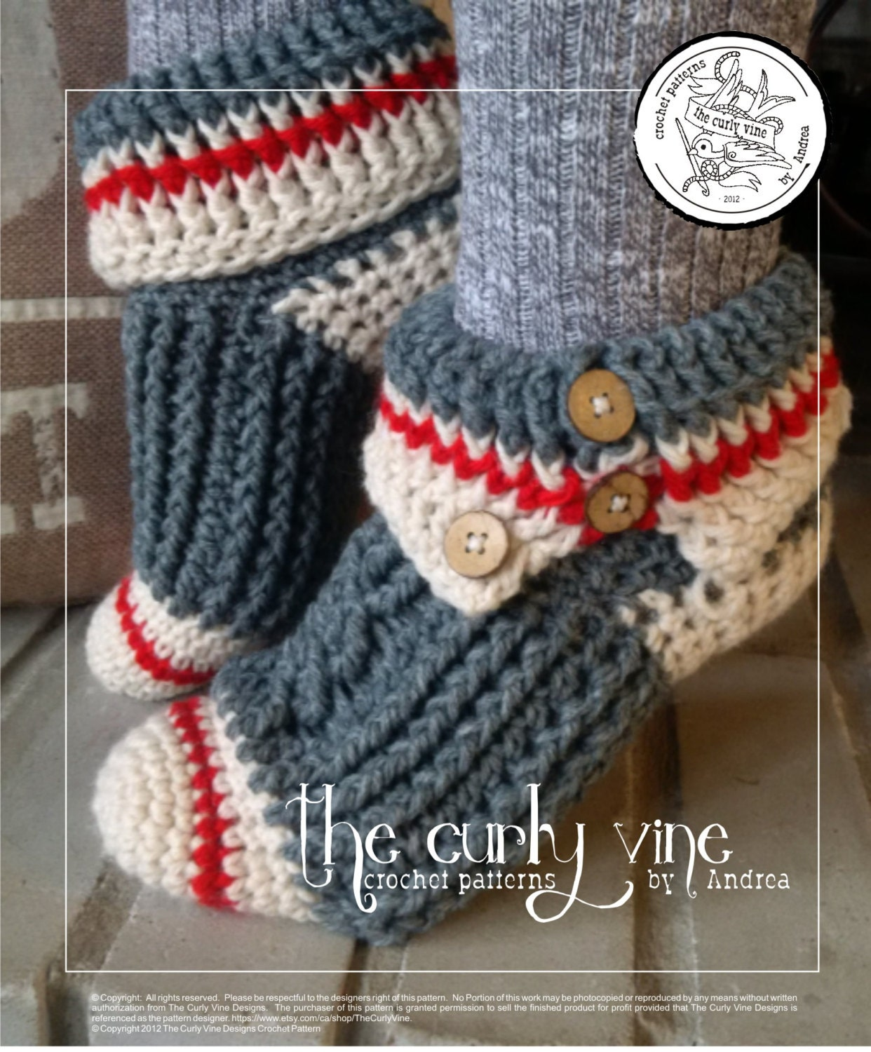 PATTERN ONLY Crochet Sock Monkey Slippers from TheCurlyVine on Etsy ...