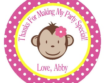 Monkey Personalized Girl's Birthday Party Circles/Set of 12/Stickers/Favor Tags/Card Embellishments/ Decorations