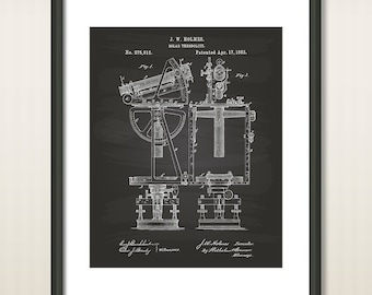 Solar Theodolite 1883 Patent Art Illustration - Drawing - Printable INSTANT DOWNLOAD - Get 5 Colors Background