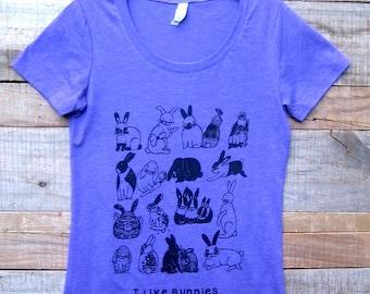 I Like Bunnies Womens Purple Tri Blend T Shirt