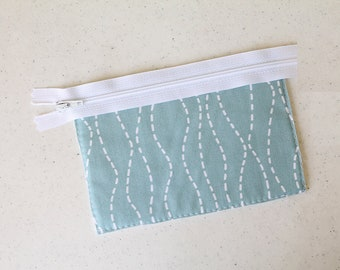 blue change purse, Lines, mini zipper pouch, earbud pouch, business card holder, id holder, small hand bag, coin purse, Pretty purse