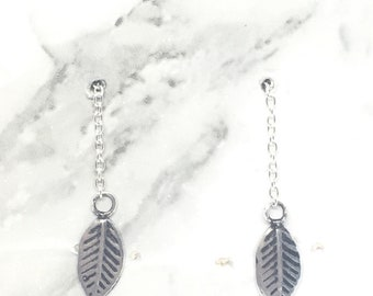 silver leaf threaders, sterling silver threaders, thread earrings, long threaders, leaf threaders, feather threaders, 90's jewelery