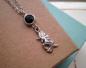 Boho Unicorn Charm Necklace - Silver Turquoise & Black Crystal Magic Unicorn Wanderlust Pendant - Bohemian Layering Jewelry Gift For Her