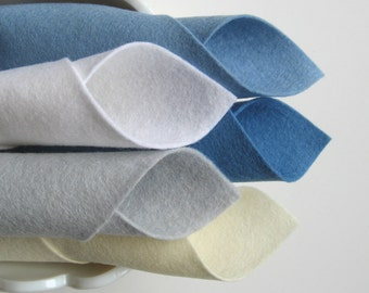100% Wool, Felt Fabric, Five Piece Set, Glacier Color Story, Baby Blue, Ecru, White, Silver Grey, Wedgwood Blue