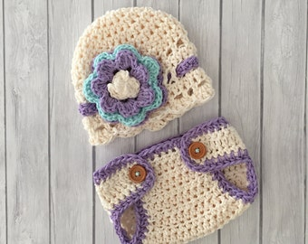 Newborn girl hat, diaper cover, crochet hat and diaper cover, newborn photo prop, baby girl hat, purple and turquoise hat, infant baby hat