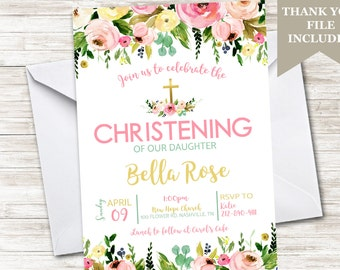 Christening Invitation Invite Digital 5x7 Personalized Girls Watercolor Floral Flower Garden